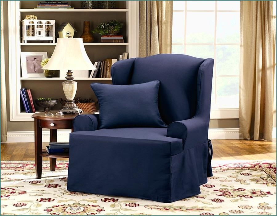 Furniture: Single Sofa With Navy Wingback Chair Slipcover On Intended For Navy Blue Slipcovers (Image 8 of 20)