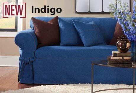 Furniture Slipcover In Rugged Washed Denim With Regard To Denim Sofa Slipcovers (View 2 of 20)