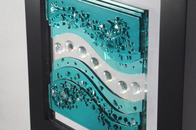 Fuse Glass Wall Art Caribbean Blue Waves – Jm Fusions Intended For Fused Glass Wall Art (View 2 of 20)
