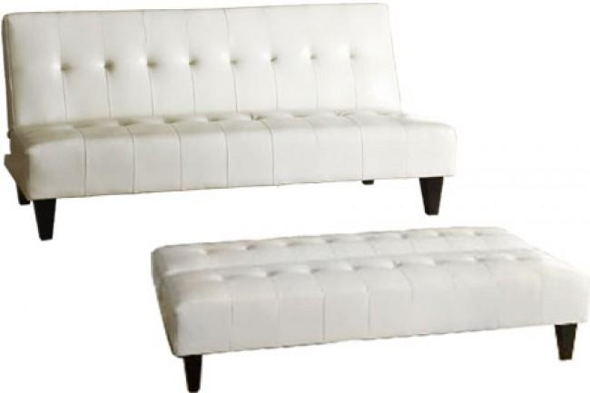 Futon Couch Sleeper White | Rockaway White | The Futon Shop Intended For Leather Fouton Sofas (Image 13 of 20)