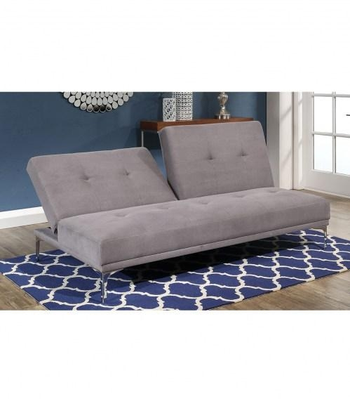 Futons : Clarence Grey Fabric Euro Lounger Intended For Euro Loungers (Image 10 of 20)