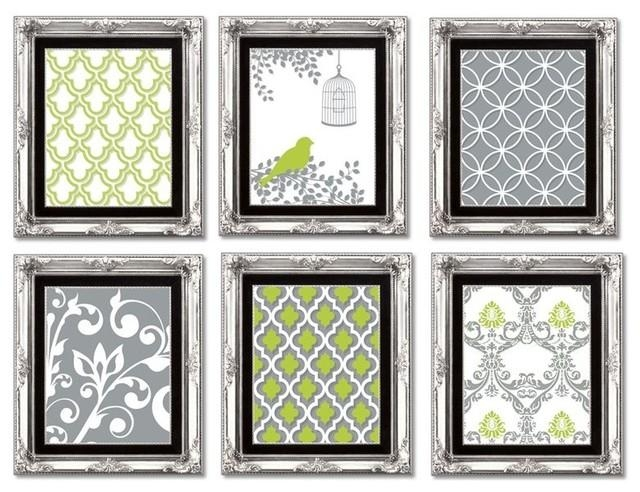 Gallery Wall Art Prints, Lime Green And Gray – Contemporary With Regard To Lime Green Wall Art (Image 11 of 20)