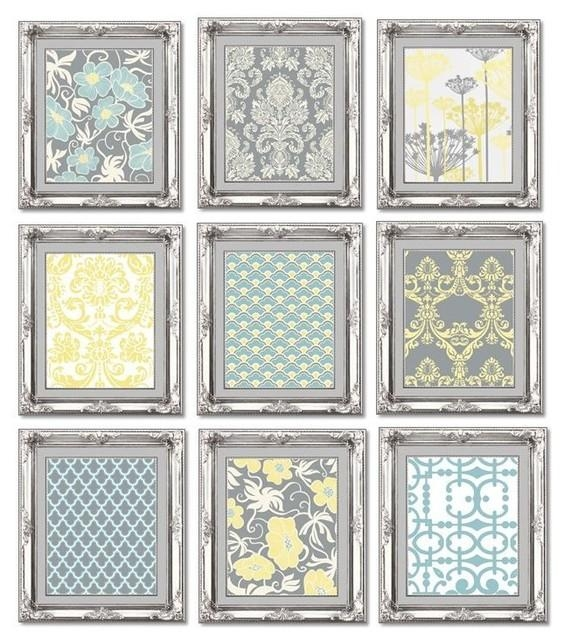 Gallery Wall Art Prints, Set Of 9, Gray, Blue And Yellow In Gray And Yellow Wall Art (Image 10 of 20)