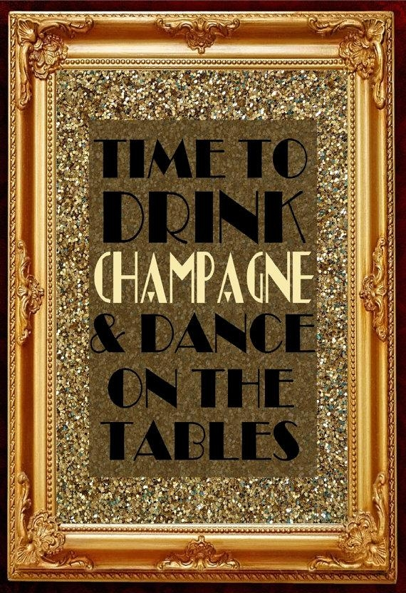 Gatsby Party Decoration Wall Art Printable Poster Slogan Time For Great Gatsby Wall Art (View 9 of 20)