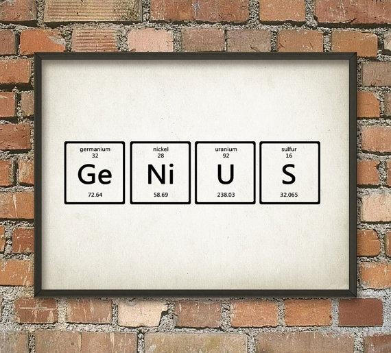 Genius Wall Art Poster Periodic Table Of Elements Art In Elements Wall Art (Photo 5 of 20)