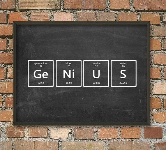 Genius Wall Art Poster Periodic Table Of Elements Art Intended For Elements Wall Art (View 19 of 20)