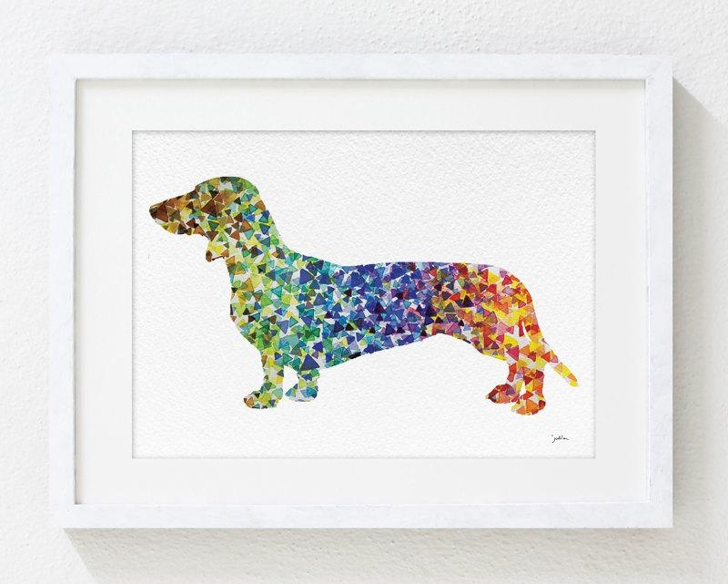 Geometric Art Dachshund Watercolor Painting 5X7 Archival Dog Throughout Dachshund Wall Art (View 4 of 20)