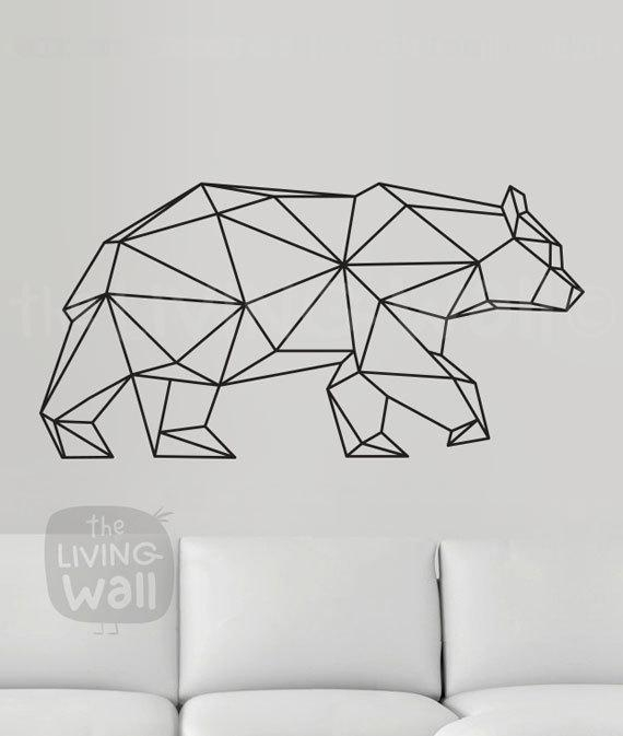 Geometric Bear Wall Decal Geometric Animals Decor Bear Wall Inside Animal Wall Art (View 3 of 20)