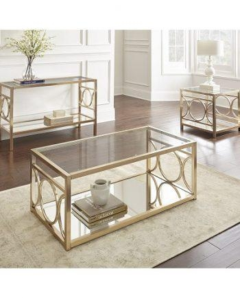 Geometric Circle Sofa Table With Mirrored Base In Gold Chrome In Gold Sofa Tables (View 4 of 20)