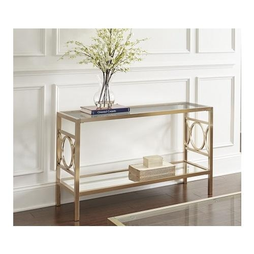 Geometric Circle Sofa Table With Mirrored Base In Gold Chrome Pertaining To Gold Sofa Tables (View 3 of 20)
