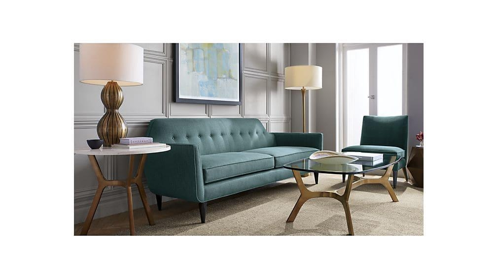 Gia Modern Blue Tufted Sofa | Crate And Barrel For Crate And Barrel Sofa Tables (Image 14 of 20)