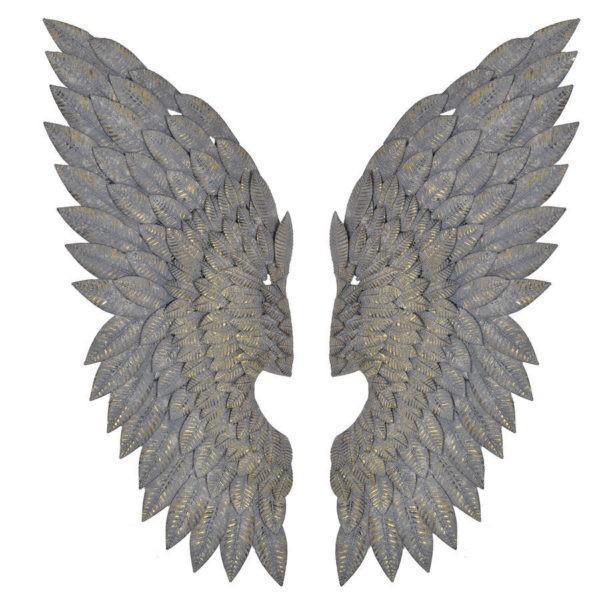 Gilt Metal Angel Wings Wall Art Feather Effect – £ (Image 17 of 20)