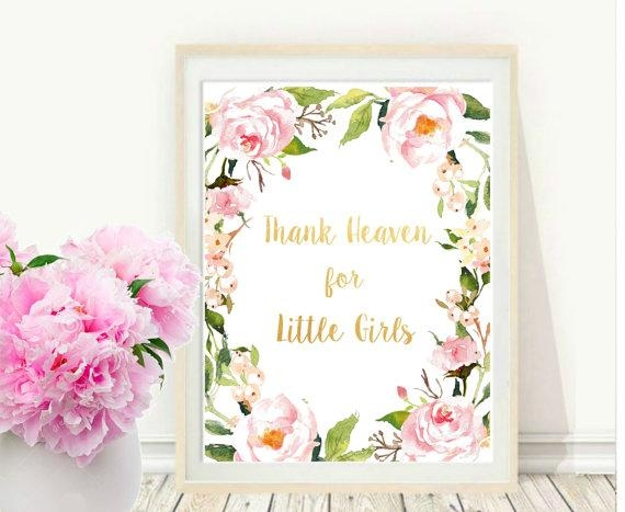 Girl Nursery Wall Art Thank Heaven For Little Girls With Regard To Little Girl Wall Art (Image 11 of 20)