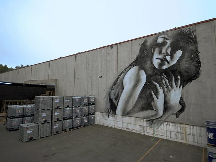 Girl On Factory Wall | Scene360 With Illusion Wall Art (Image 9 of 20)