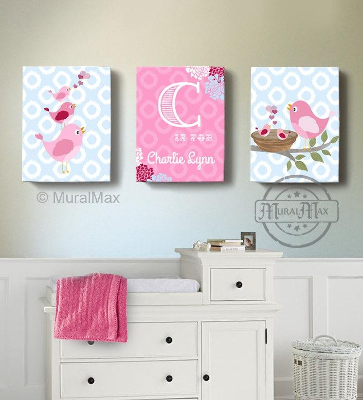 Girls Wall Art Birdies Canvas Art Baby Nursery Decor With Regard To Personalized Nursery Wall Art (Image 9 of 20)
