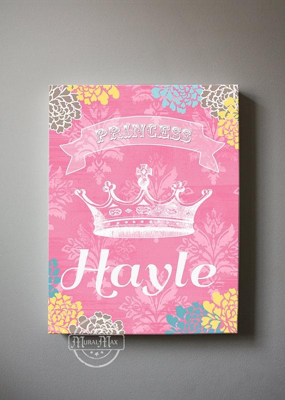 Girls Wall Art Princess Canvas Art Personalized Princess In Princess Crown Wall Art (Image 9 of 20)