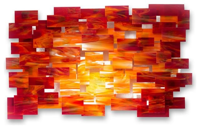 "Glass And Metal Wall Sculpture ""sunset"" – Modern – Metal Wall Art Throughout Modern Glass Wall Art (Image 6 of 20)"