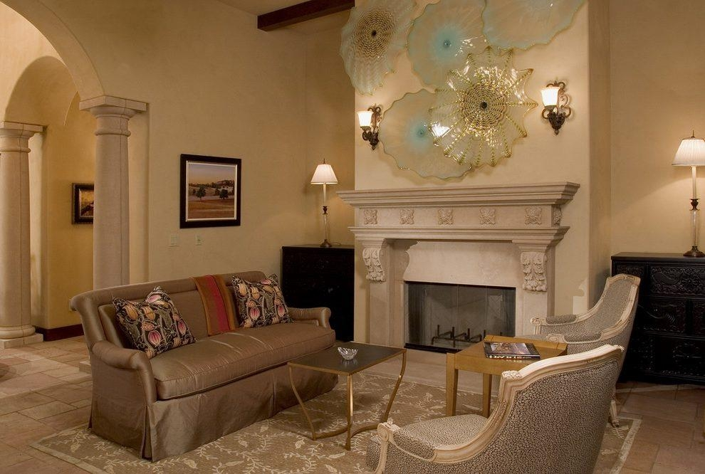 Glass Art Ideas Living Room Traditional With Fireplace Mantel With Fireplace Wall Art (Image 10 of 20)