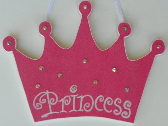 Glitter Princess Crown Wall Hanging Wood Crown Pink Tiara With Princess Crown Wall Art (Image 10 of 20)