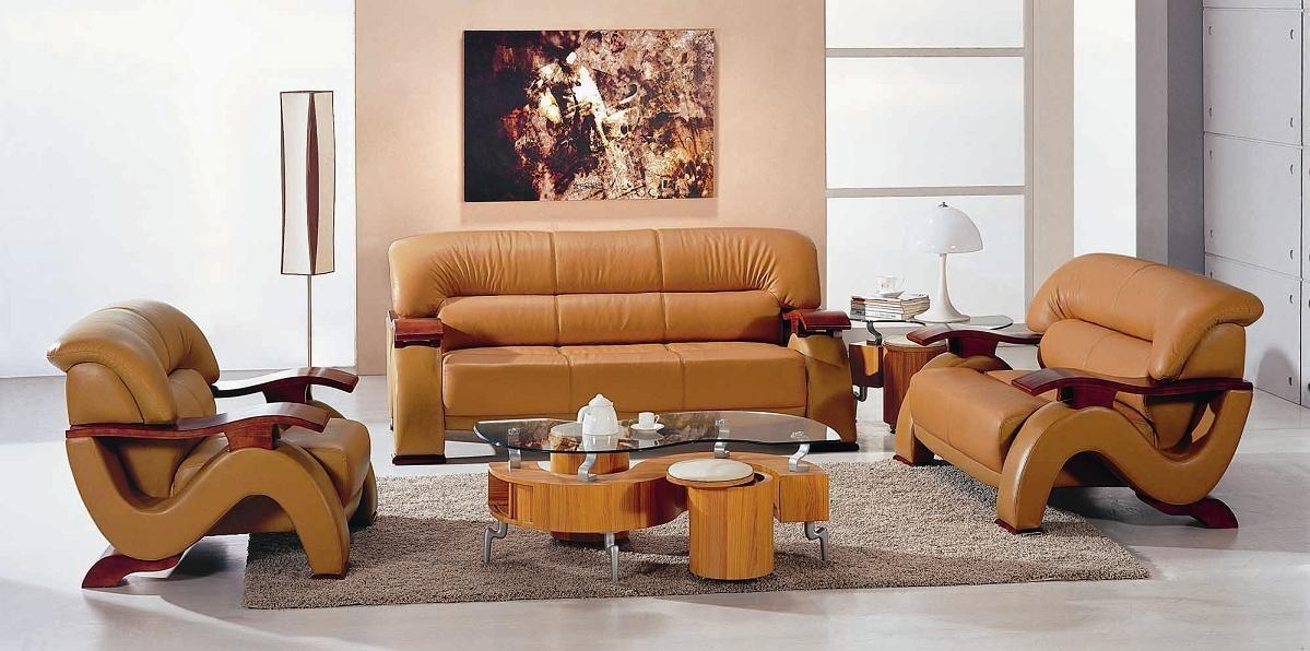 Global Vig Furniture Contemporary 2033 Leather Camel Color 3 Pc For Camel Color Sofas (Image 12 of 20)