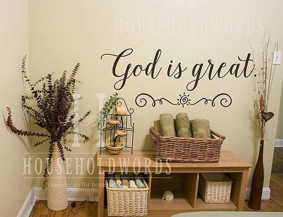 God Is Great Vinyl Wall Decal Words Religious Wall Decal With Regard To Preschool Classroom Wall Decals (Image 16 of 20)