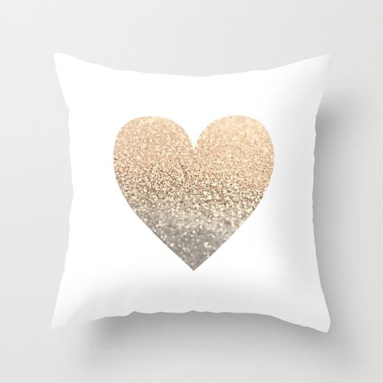Gold Heart Throw Pillowmonika Strigel | Society6 Regarding Gold Sofa Pillows (Image 7 of 20)
