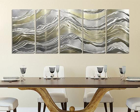 Gold & Silver Metal Panel Painting Modern Metal Wall Art Regarding Silver And Gold Wall Art (Image 12 of 20)