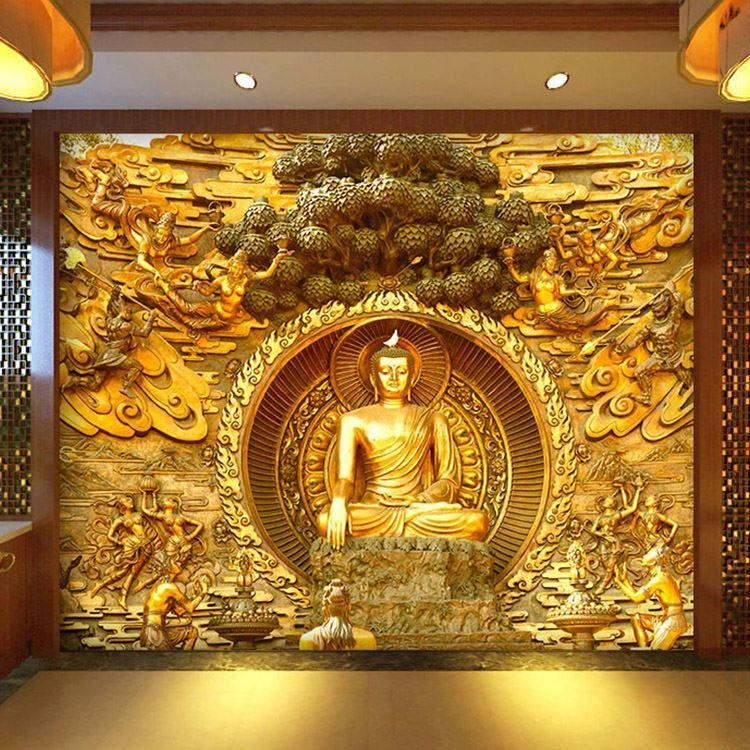 Golden Buddha Buddhist Temple Mural Custom Large Living Room Pertaining To  3D Buddha Wall Art