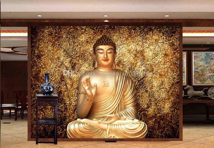 Golden Buddha Photo Wallpaper Buddhist Temple Wall Mural Custom 3D Inside 3D Buddha Wall Art (Image 10 of 20)