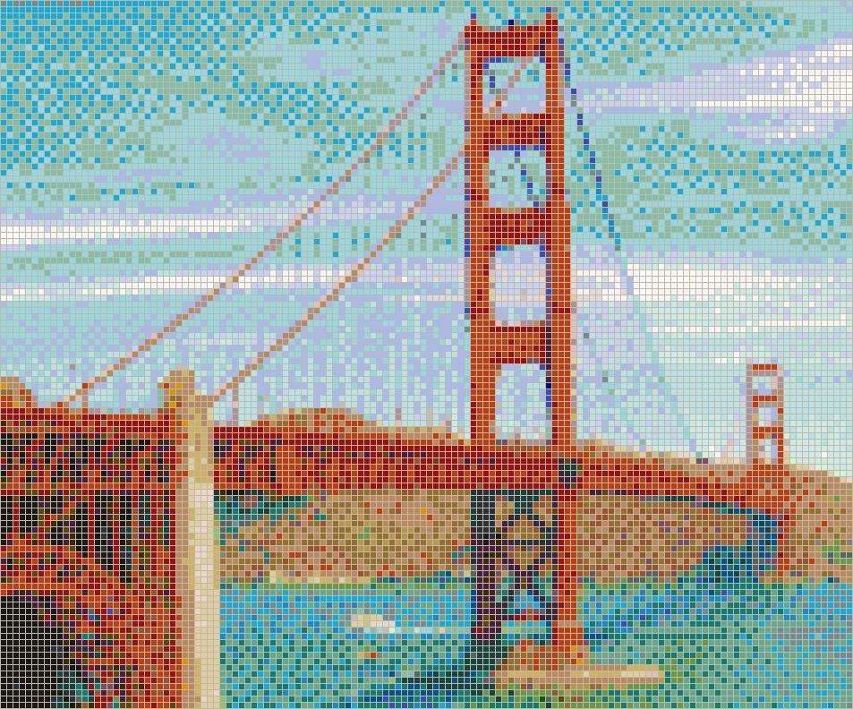 Golden Gate Bridge – Framed Mosaic Wall Art Throughout Pixel Mosaic Wall Art (Image 10 of 20)