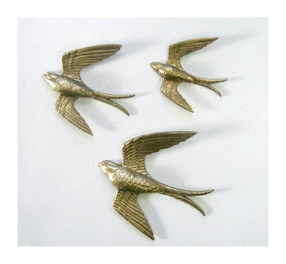 Golden Swallows Bird Wall Art Vintage Burwood Bird Hangings Within Birds In Flight Metal Wall Art (Image 11 of 20)