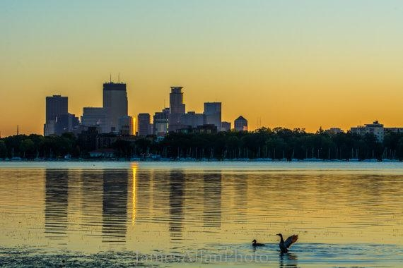 Good Morning Minneapolis Wall Art Print Photograph Skyline For Minneapolis Wall Art (Image 8 of 20)