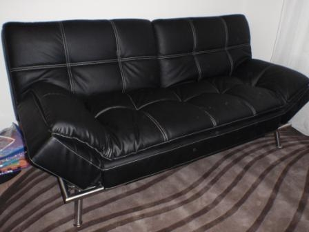 Gorgeous Black Leather Euro Lounger / Futon For Sale (Seefeld Pertaining To Euro Loungers (Image 11 of 20)