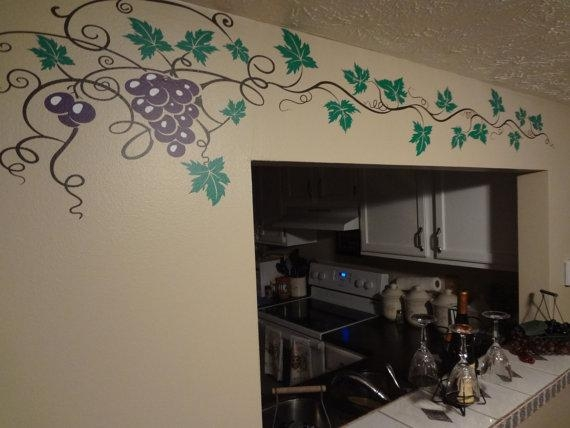 Grape Vine Decal Wine Home Decor Wall Art Sticker Kitchen Within Grape Wall Art (Image 10 of 20)