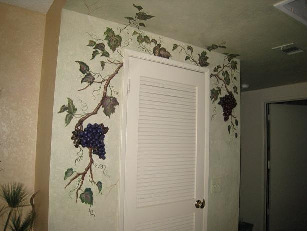 Grapes And Grapevine Mural – Traditional – Kitchen – Los Angeles Inside Grape Wall Art (Image 11 of 20)