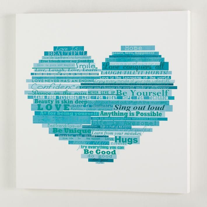 Graphic Quotes Wall Art – White/pool | Pbteen Intended For Wall Art For Teenagers (View 4 of 20)