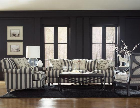 Gray And White Wide Stripped Couch | Red Upholstered Sleeper Sofa Regarding Black And White Sofas And Loveseats (Image 16 of 20)