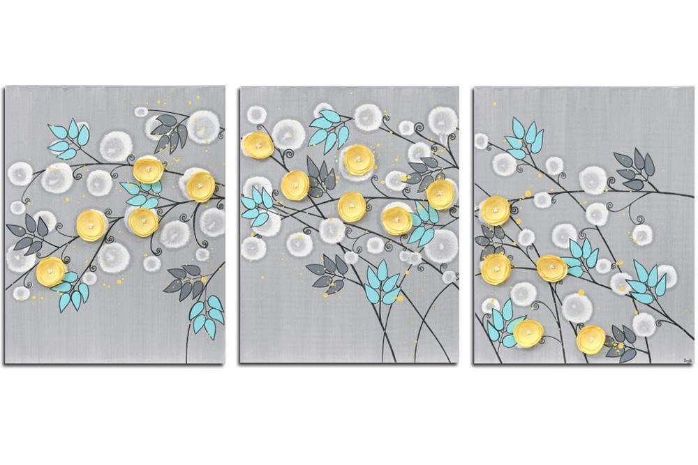 Gray And Yellow Wall Art Painting Of Flowers On Canvas – Large With Regard To Gray And Yellow Wall Art (Image 12 of 20)
