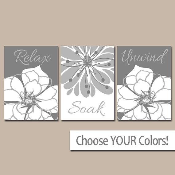 Gray Bathroom Wall Art Canvas Or Prints Bath Artwork In Bath Wall Art (Image 14 of 20)