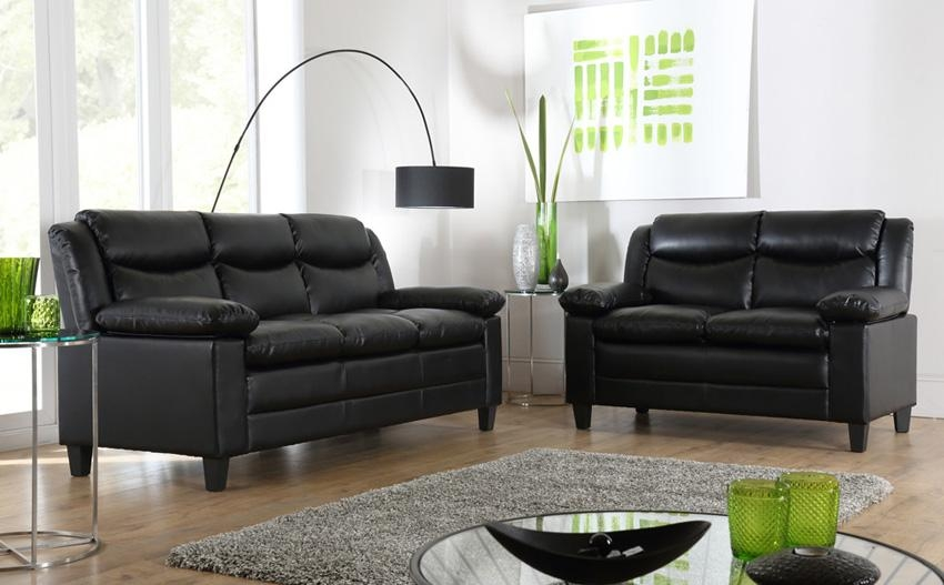Great Black Leather Sofas – Interiorvues Intended For Small Black Sofas (Image 8 of 20)