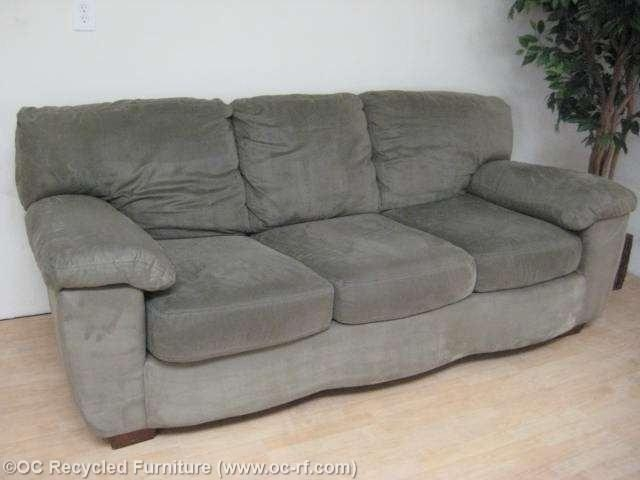 Green Ashley Microfiber Sofa – Used Furniture – Recycled Couches For Green Microfiber Sofas (View 9 of 20)
