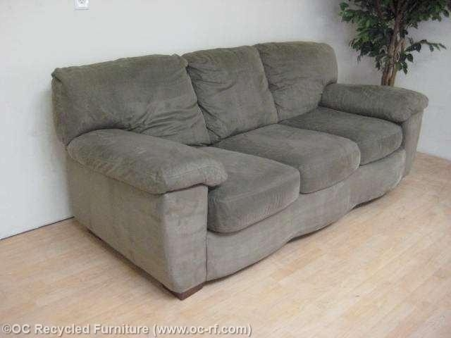 Green Ashley Microfiber Sofa – Used Furniture – Recycled Couches With Regard To Green Microfiber Sofas (Photo 6 of 20)