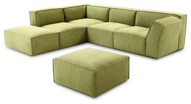 Green Microfiber Fabric Sectional Sofa With Matching Ottoman Throughout Green Microfiber Sofas (Image 10 of 20)