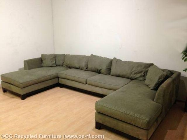Green Microfiber U Double Chaise 2 With Green Microfiber Sofas (View 20 of 20)