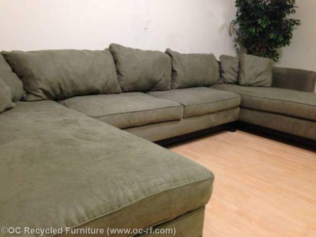 Green Microfiber U Double Chaise 4 In Green Microfiber Sofas (View 19 of 20)