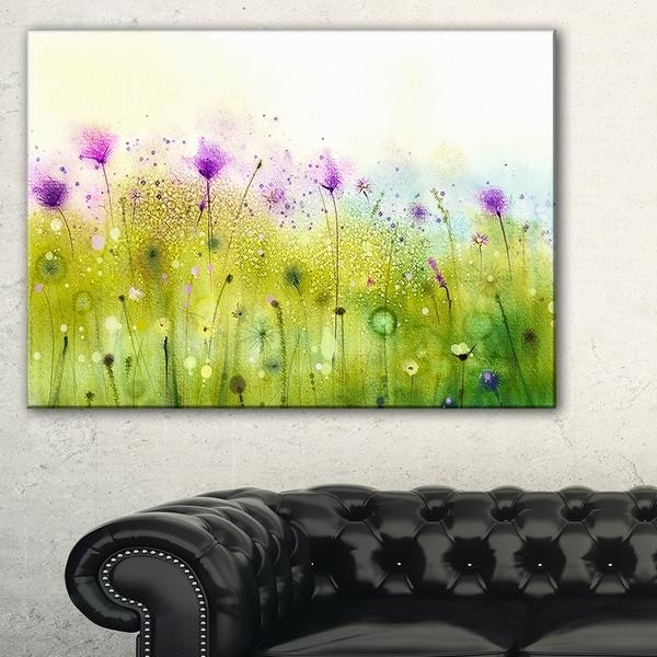 Green Purple Abstract Cosmos Of Flowers – Large Flower Canvas Wall Intended For Green Canvas Wall Art (Image 14 of 20)