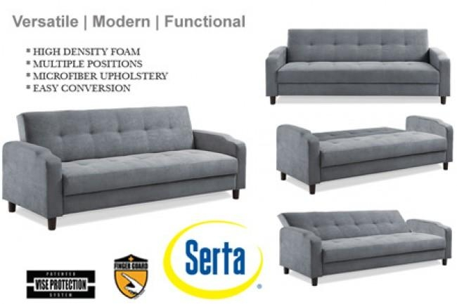 Grey Convertible Futon Sofa Bed Sleeper | Reno Modern Futon Couch In Convertible Futon Sofa Beds (Image 13 of 20)