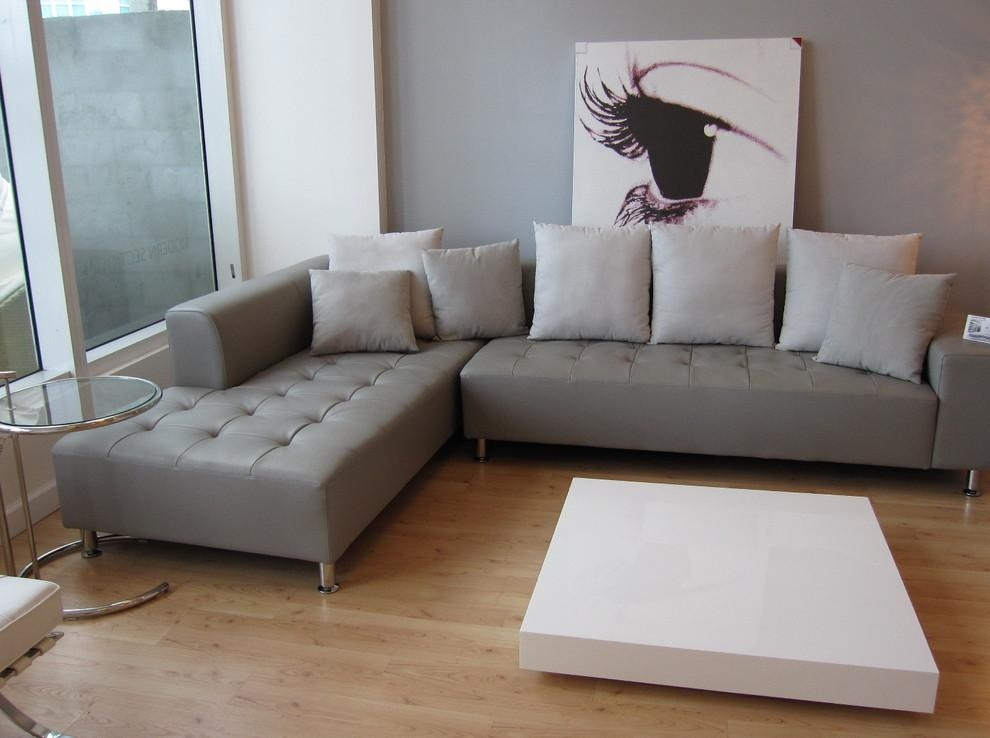 Grey Leather Sofa Family Room Contemporary With Charcoal Linen With Charcoal Grey Leather Sofas (View 2 of 20)