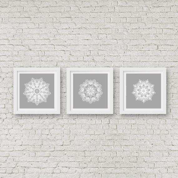 Grey Mandala Wall Art Set Of 3 Matching Prints White Wall Art In Matching Wall Art (Image 2 of 20)