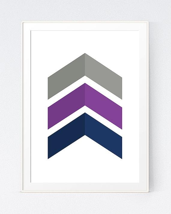 Grey Purple Chevrons Wall Art Purple Blue Decor Blue Grey Intended For Navy Blue Wall Art (View 19 of 20)